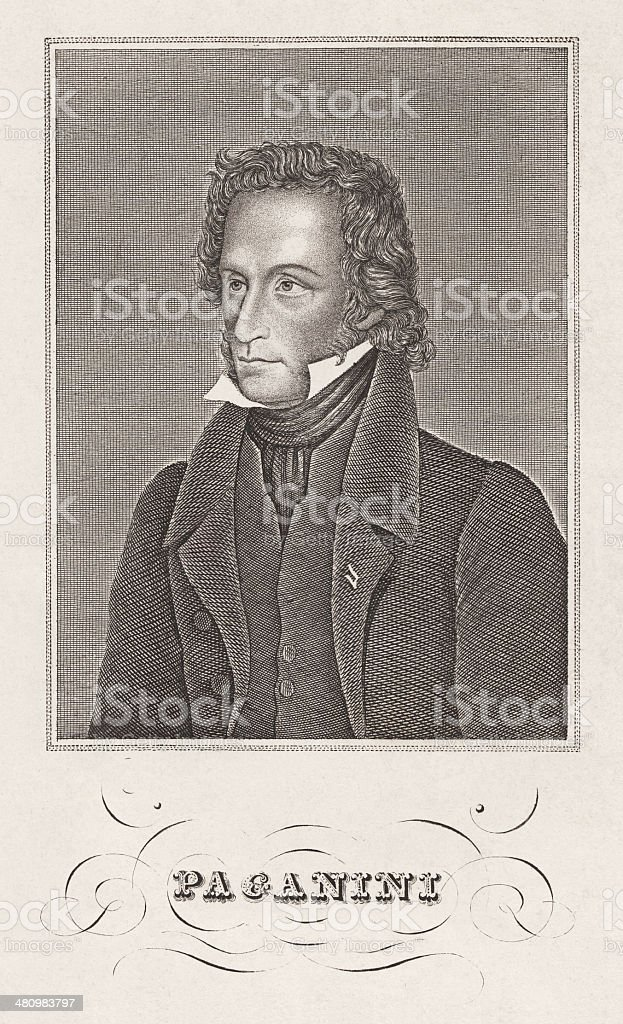 Niccolò Paganini (1782-1840), Italian violinist and composer, copper engraving, c.1820 royalty-free stock vector art