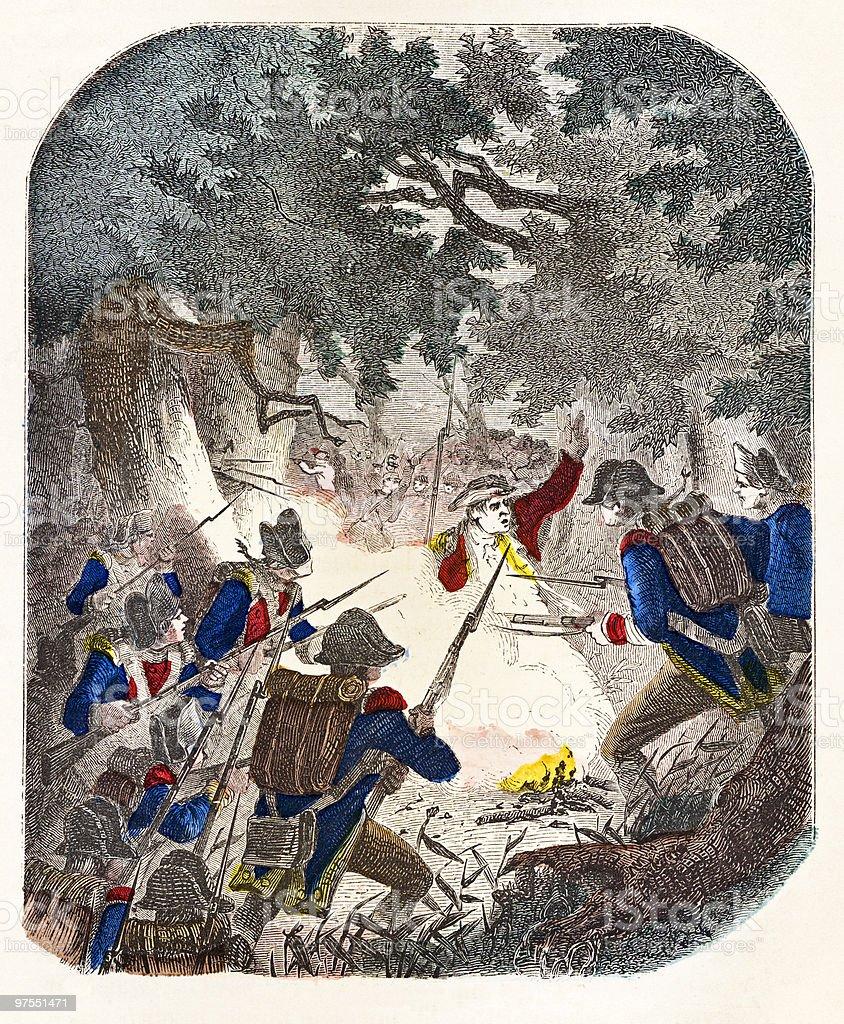 Night Attack at Paoli, 1777 vector art illustration