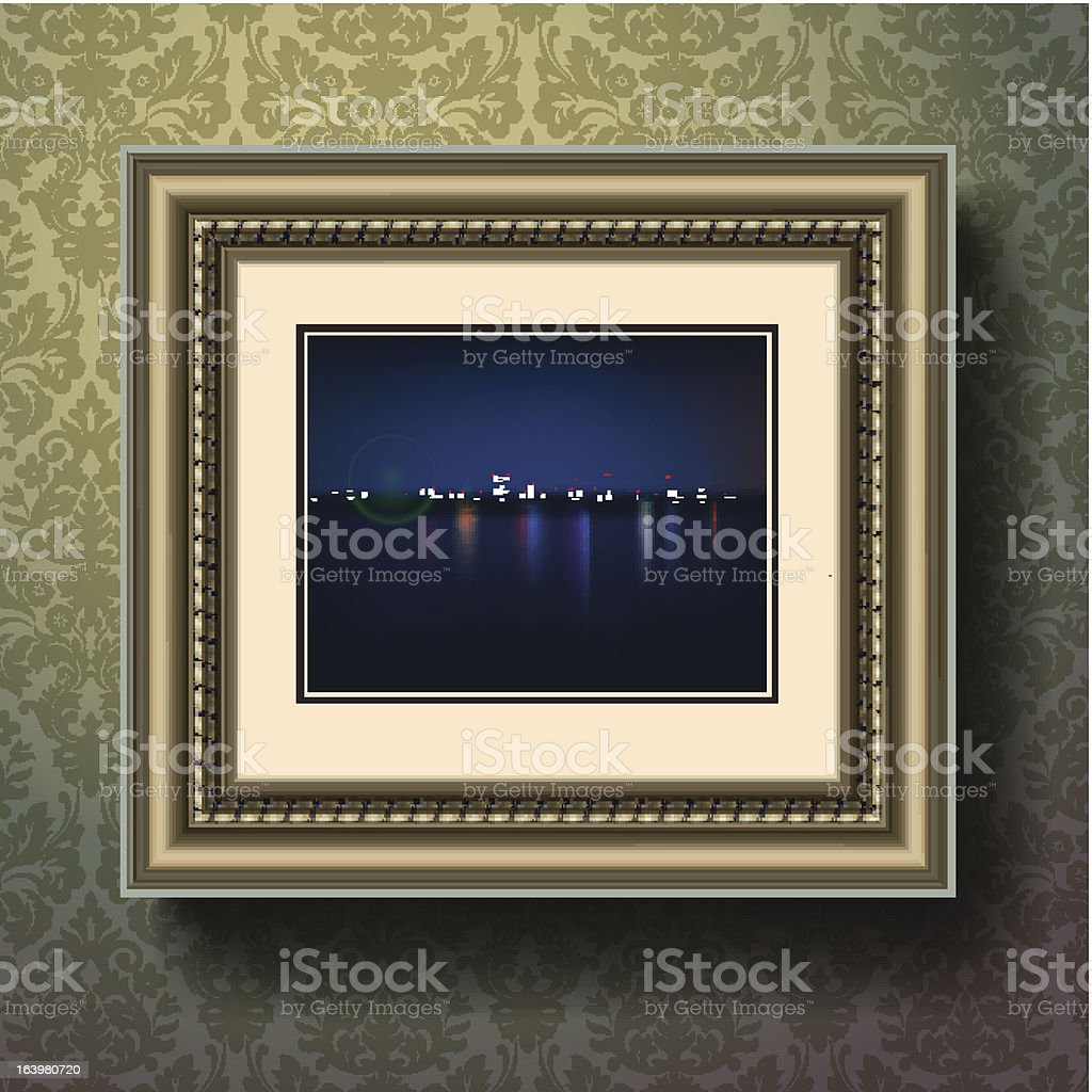 Night city picture in image frame on a wall royalty-free stock vector art