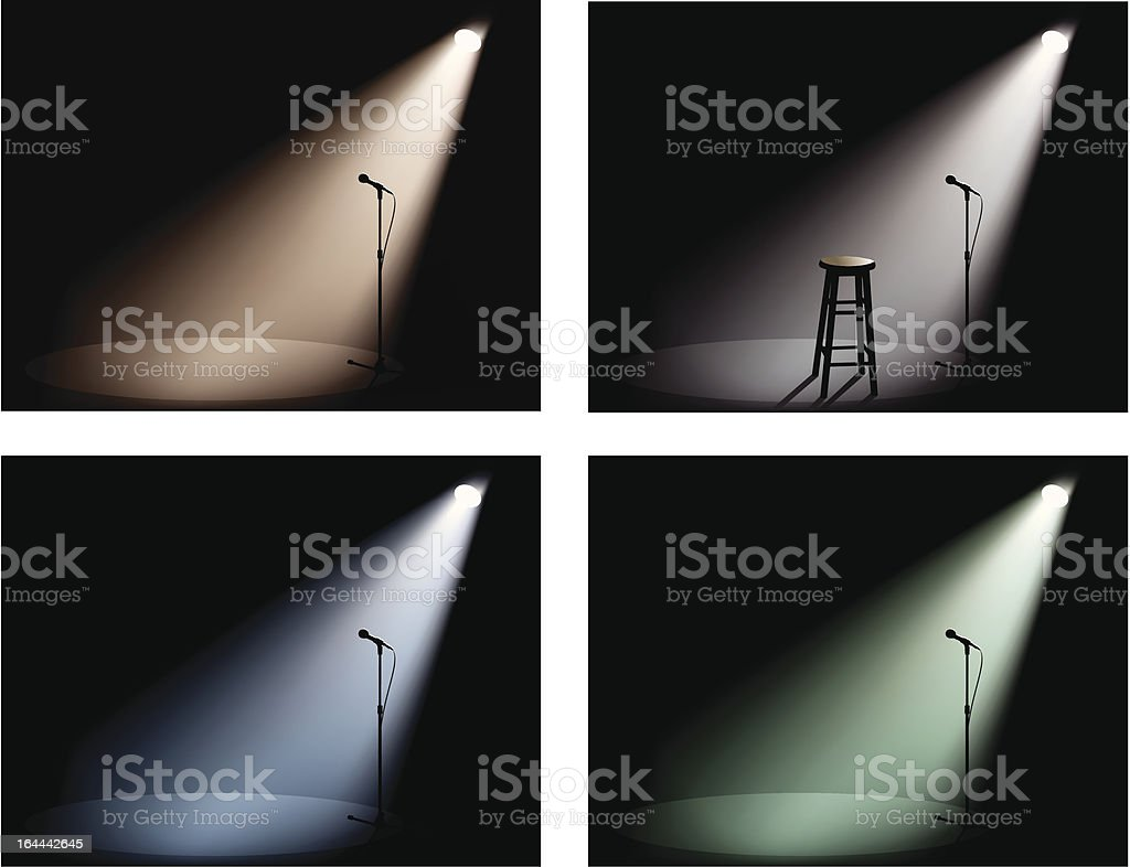 night club with spotlight and microphone vector art illustration