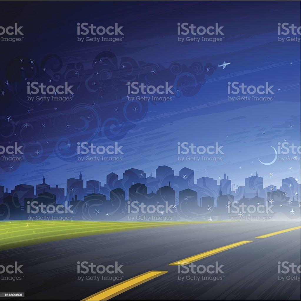 Night comes vector art illustration