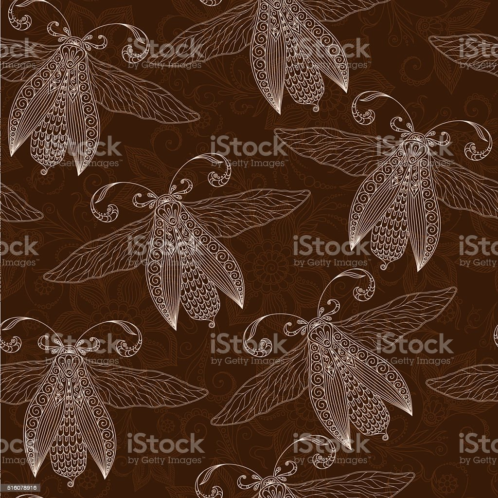 Night creatures seamless pattern with moths and fireflies. vector art illustration