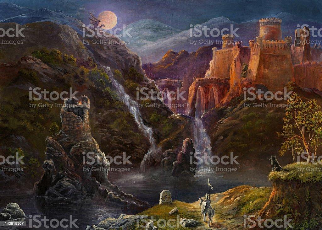 Night in fairy kingdom vector art illustration