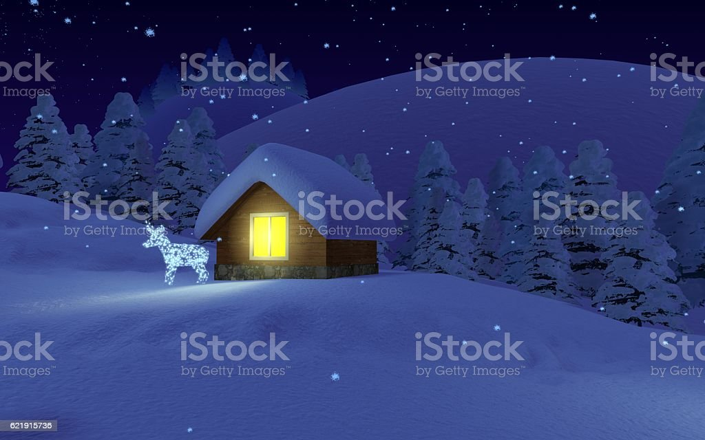 Night on Christmas. vector art illustration