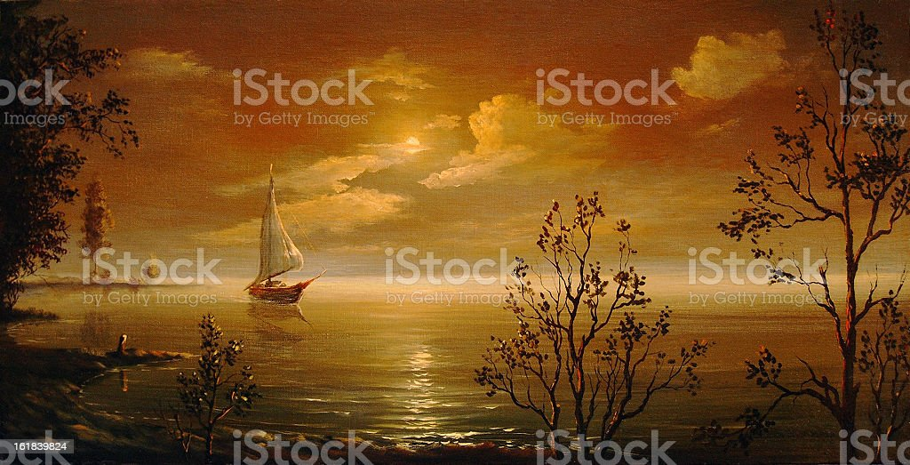 Night on lake vector art illustration