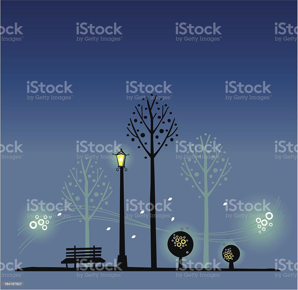 Night park Scene vector art illustration