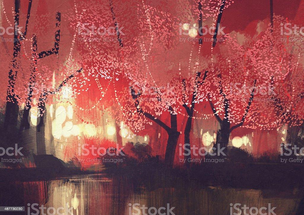 night scene of autumn forest vector art illustration