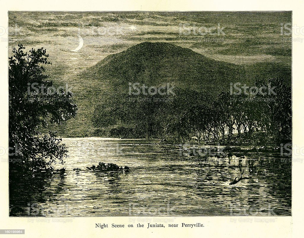 Night scene on the Juniata River, Pennsylvania royalty-free stock vector art