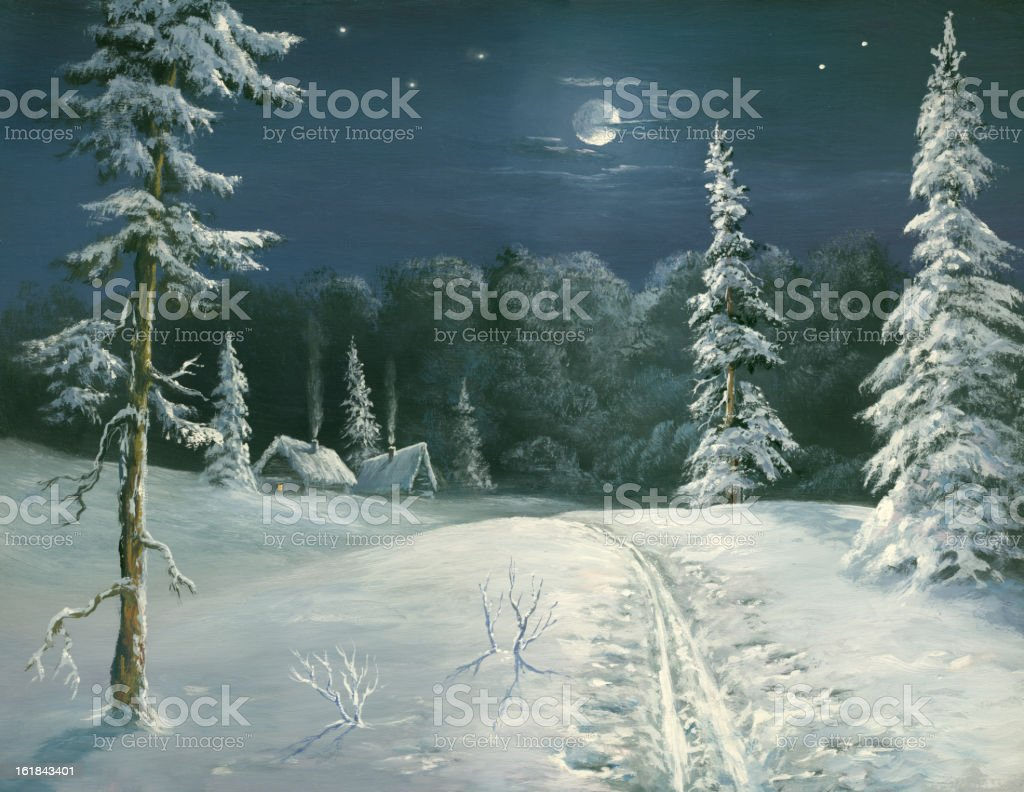 night ski track royalty-free stock vector art