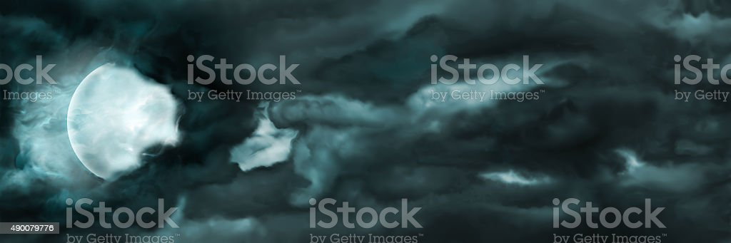 Night sky with the moon and clouds banner vector art illustration