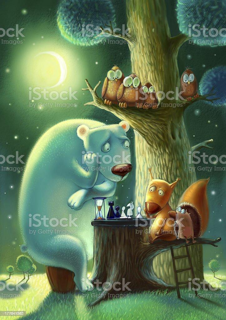 Night story vector art illustration