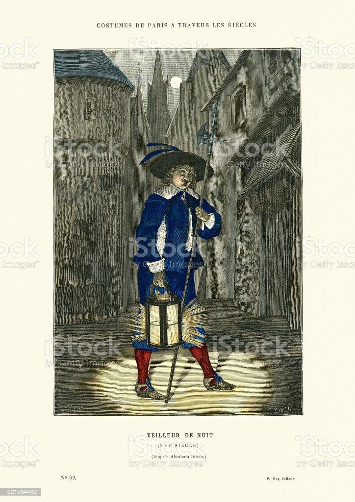 Night watchman, 16th Century, France vector art illustration