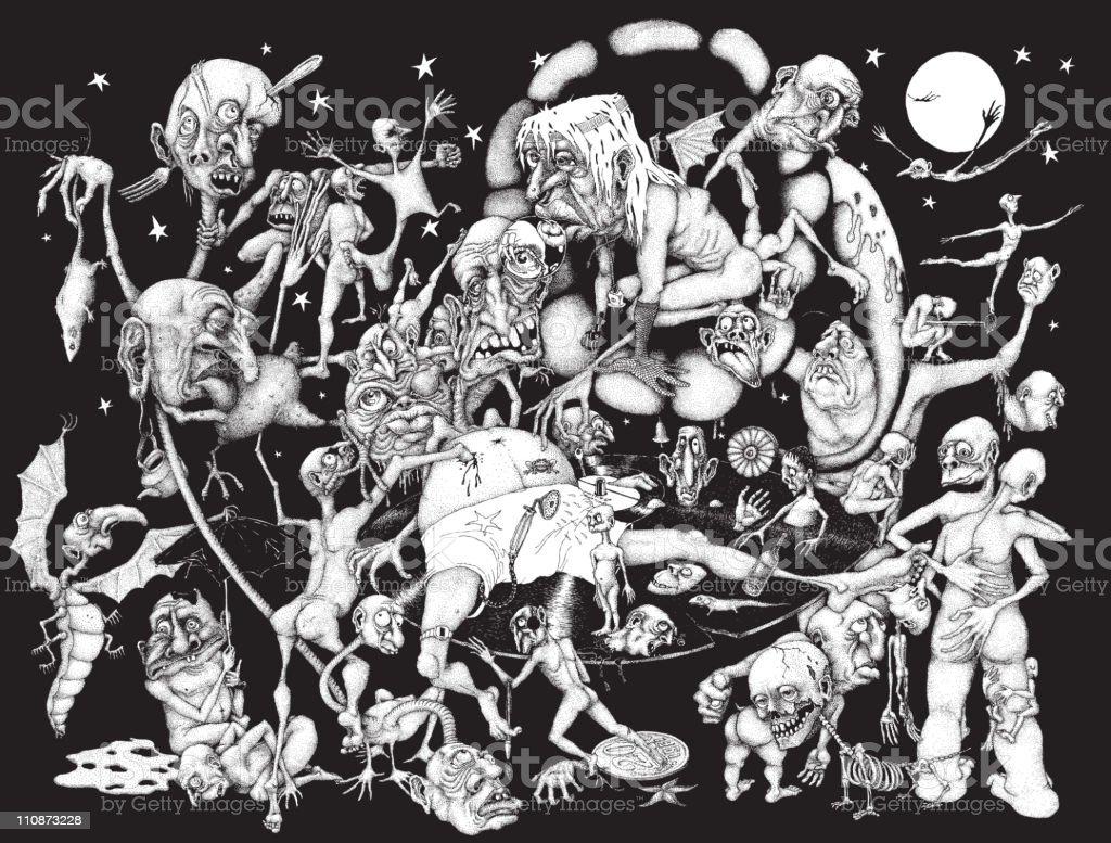 Nightmare vector art illustration