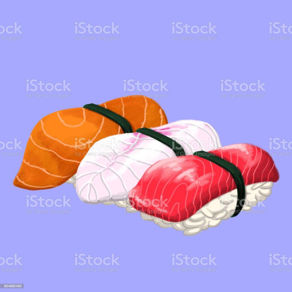 Nigiri Sushi vector art illustration