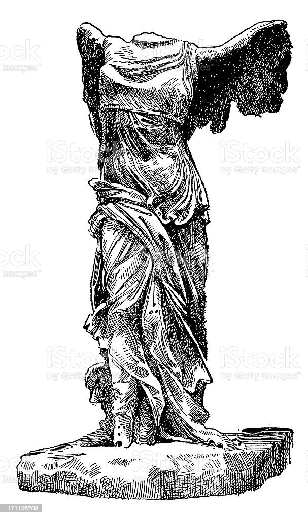 Nike of Samothrace vector art illustration