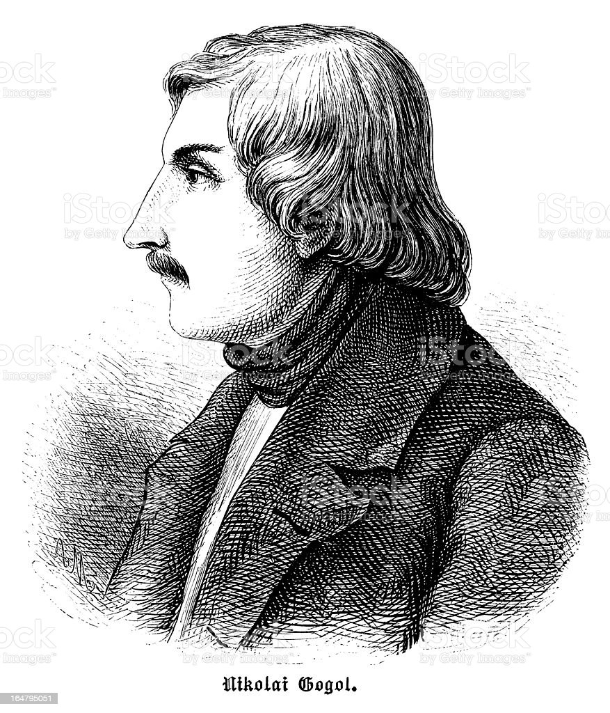 Nikolai Gogol - Antique Engraved Portrait royalty-free stock vector art