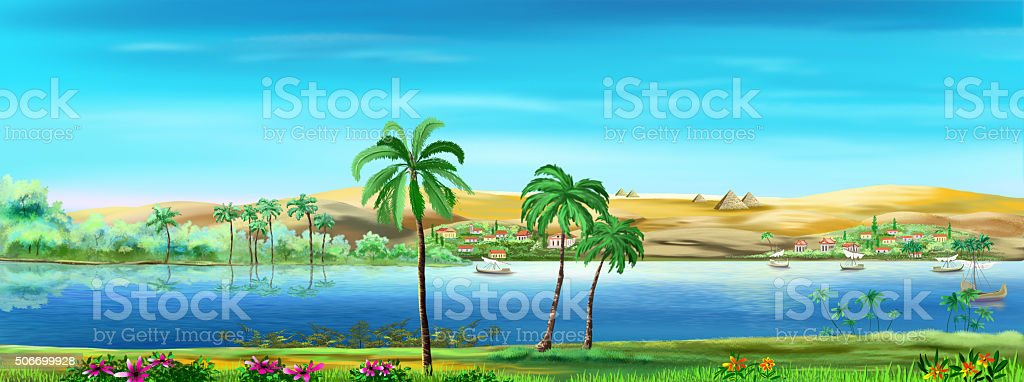Nile river vector art illustration