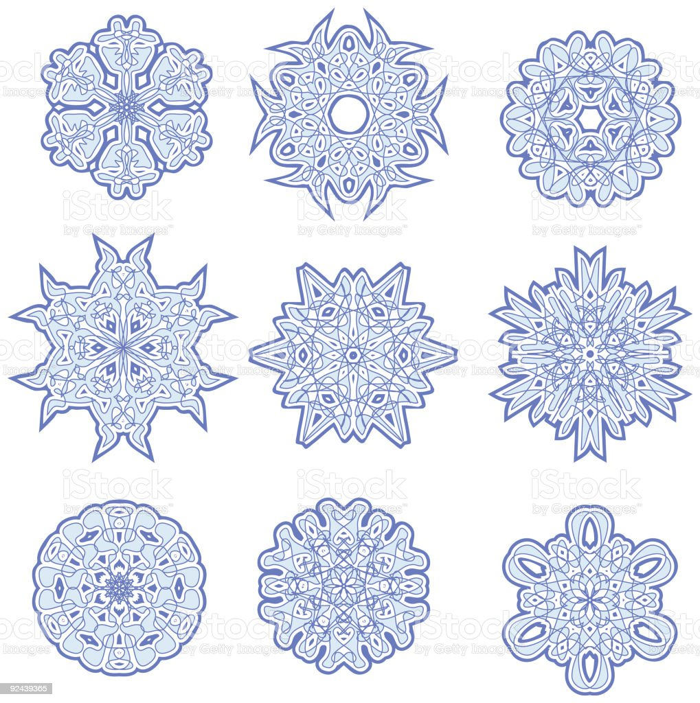 Nine Complicated Vector Snowflakes royalty-free stock vector art