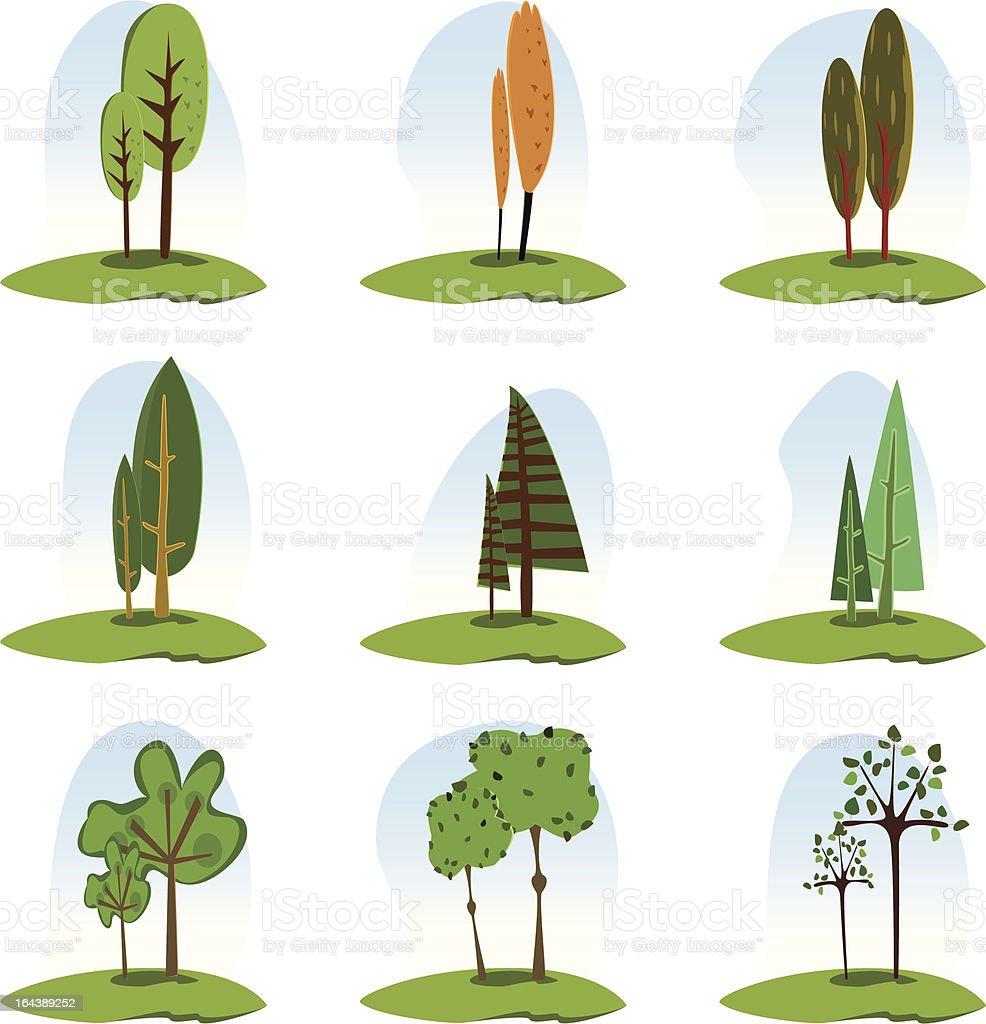 Nine trees icon set royalty-free stock vector art