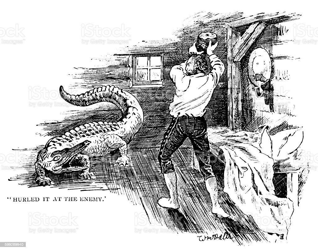 Nineteenth century American man fending off an alligator vector art illustration
