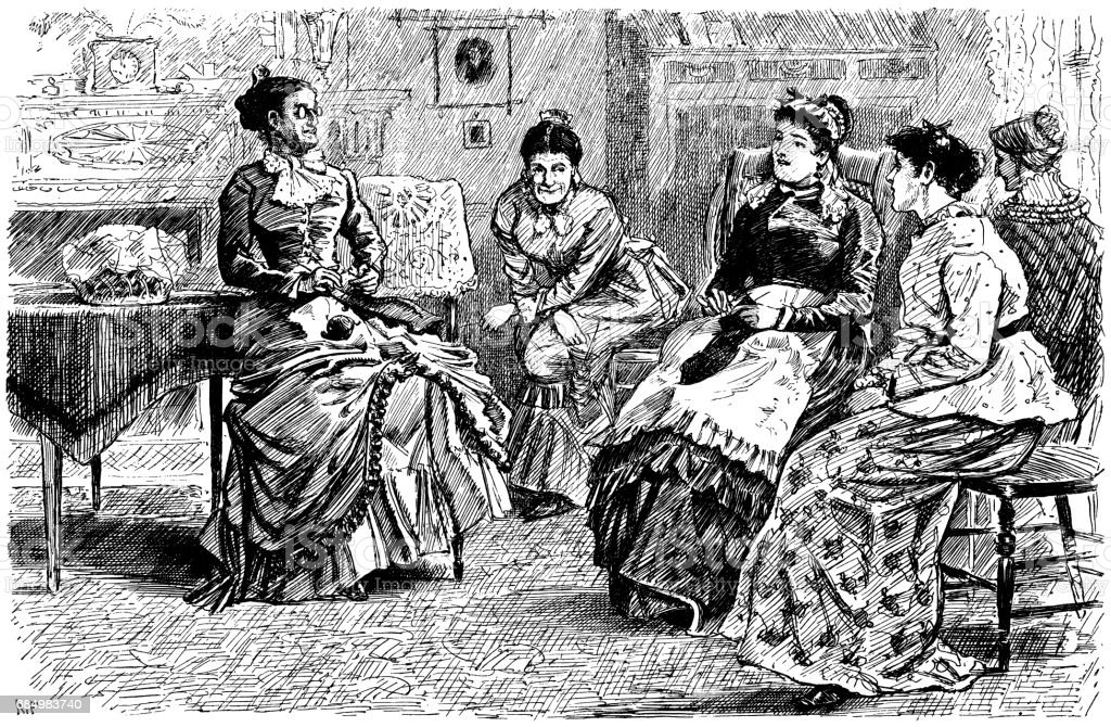 Nineteenth century American women at a knitting circle vector art illustration