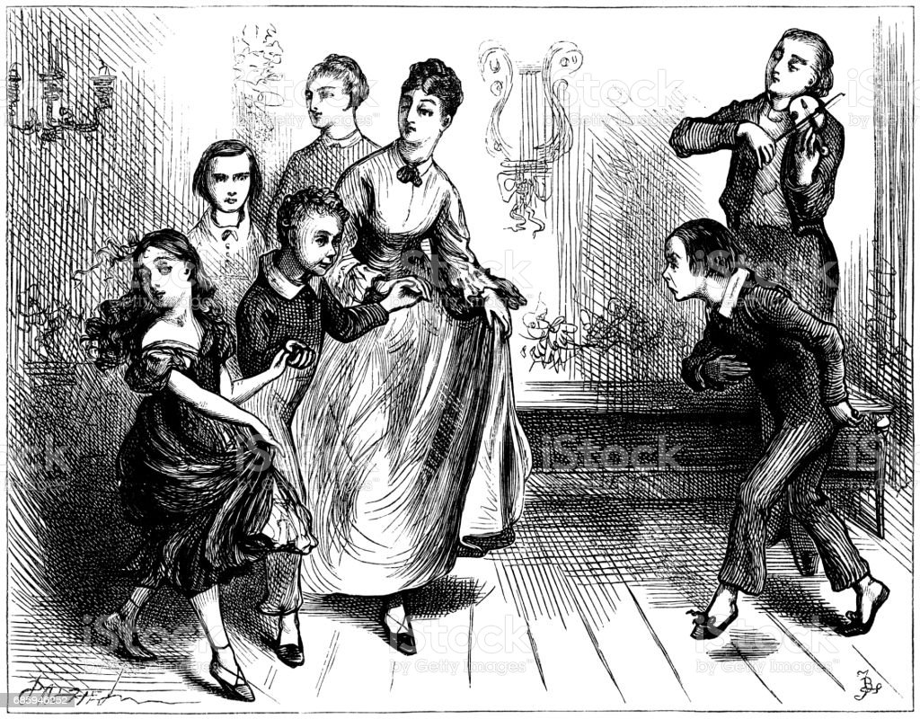 Nineteenth century children enduring a dancing lesson vector art illustration