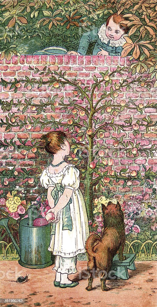 Victorian children in a kitchen garden vector art illustration