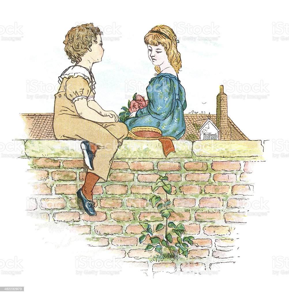 Young Victorians sitting on a wall vector art illustration