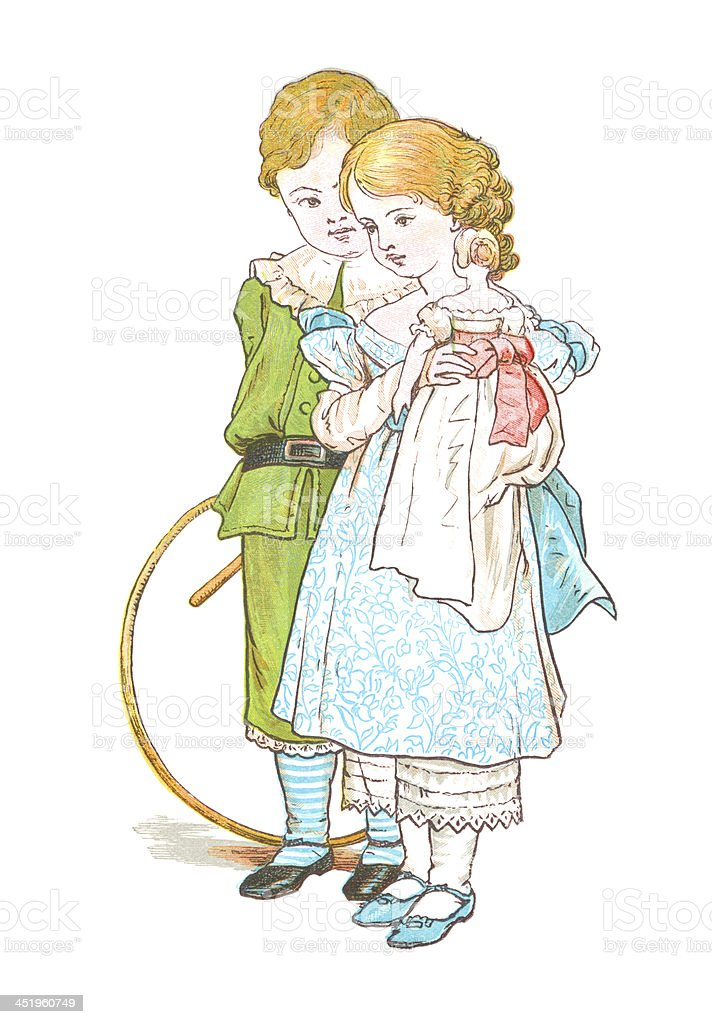 Victorian children with hoop and doll vector art illustration
