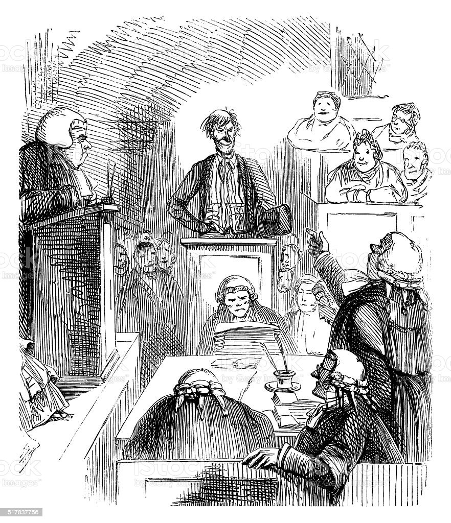 Nineteenth century courtroom scene vector art illustration