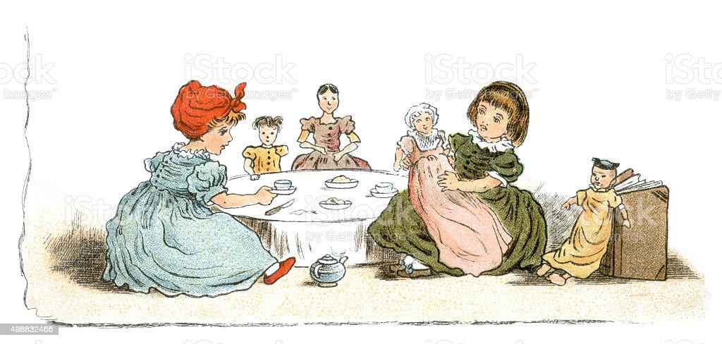 Nineteenth century dolls' tea party vector art illustration