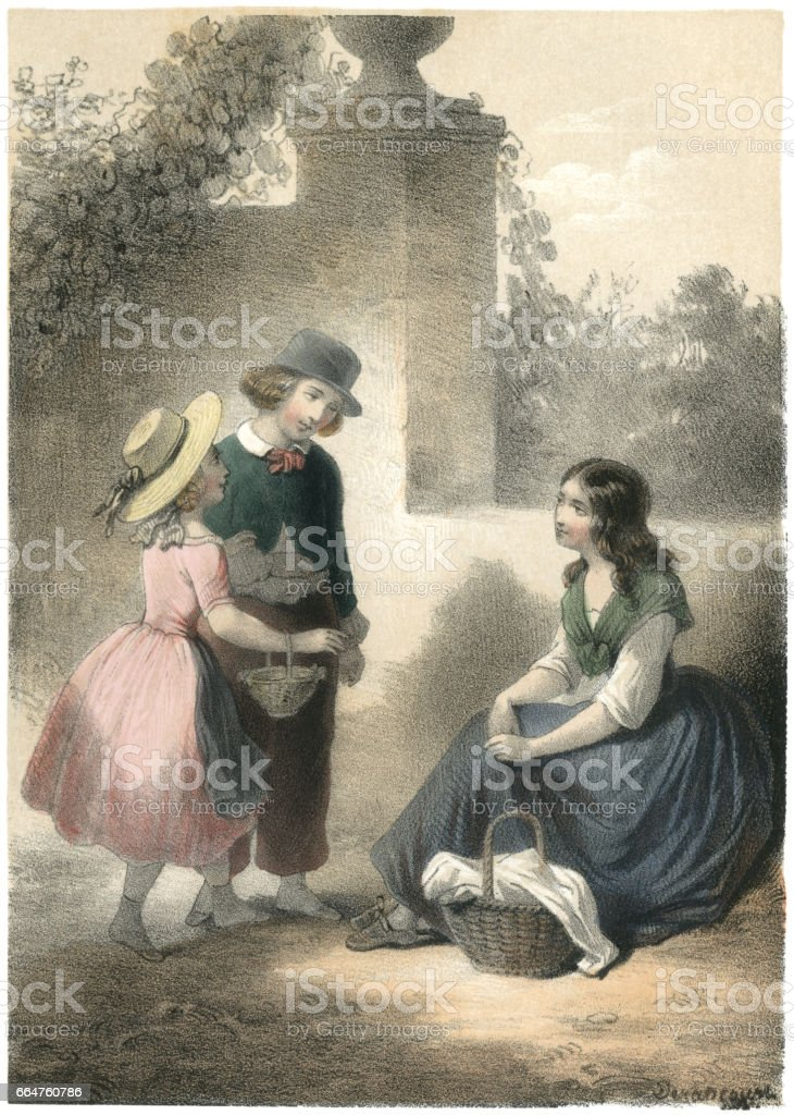 Nineteenth century French children talking to a young woman vector art illustration