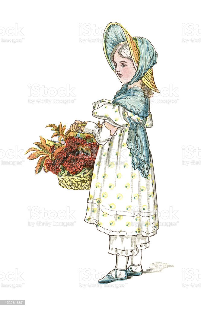 Nineteenth century girl with basket of autumn fruit and leaves vector art illustration