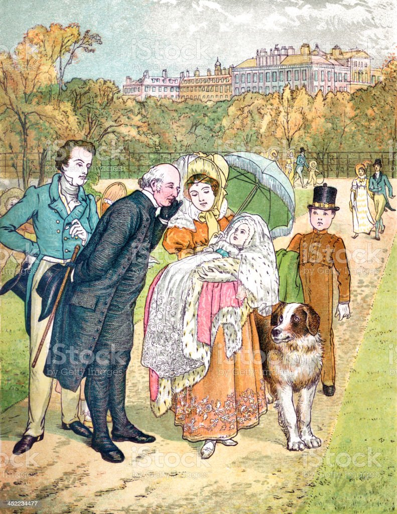Victorian people admiring a baby vector art illustration