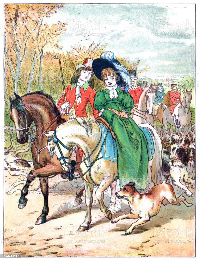 Nineteenth century people going fox hunting vector art illustration