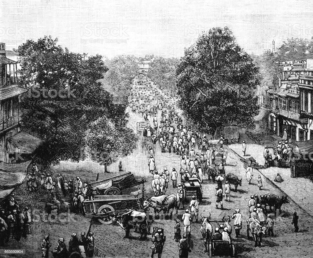 Nineteenth century street scene in Delhi, India vector art illustration