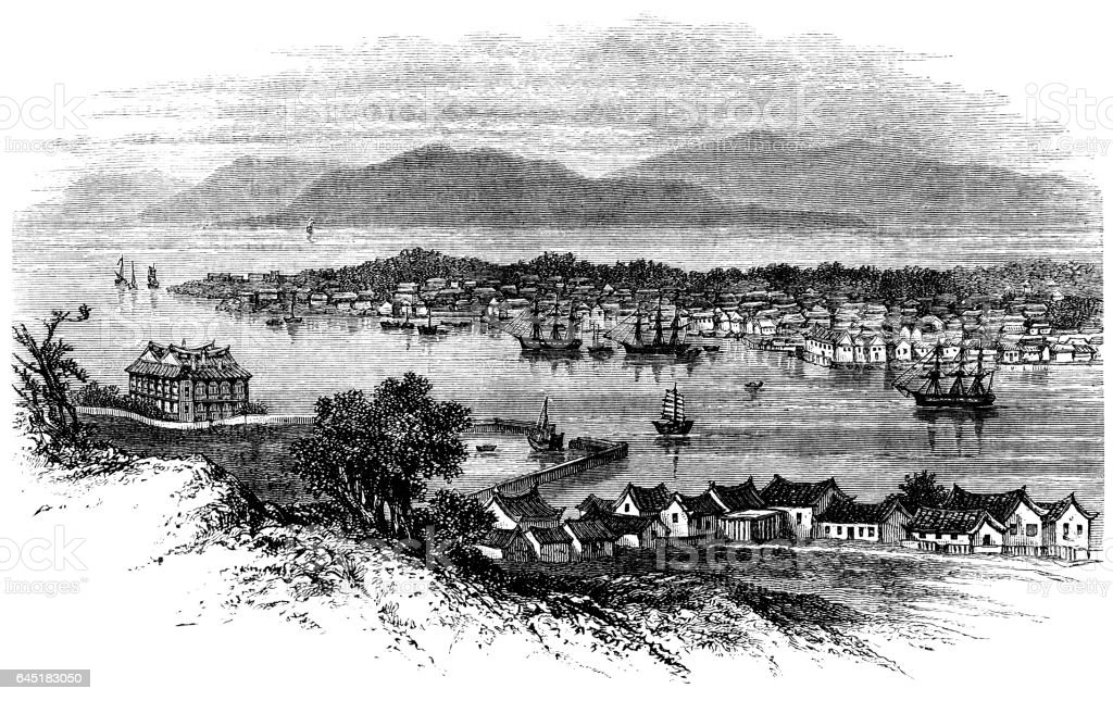 Nineteenth century view of Amoy in China vector art illustration