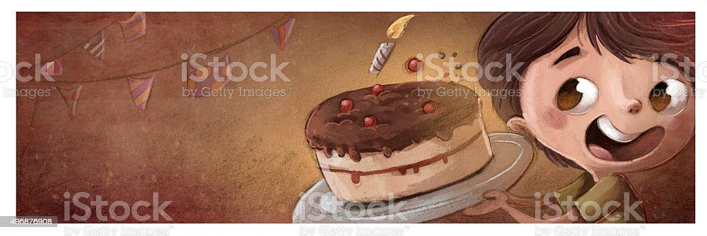 nio con pastel de cumpleaos vector art