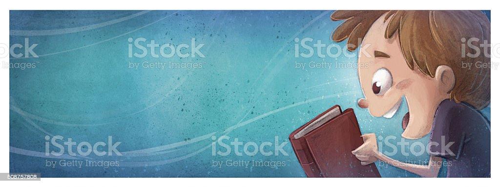 niño feliz con libro vector art illustration