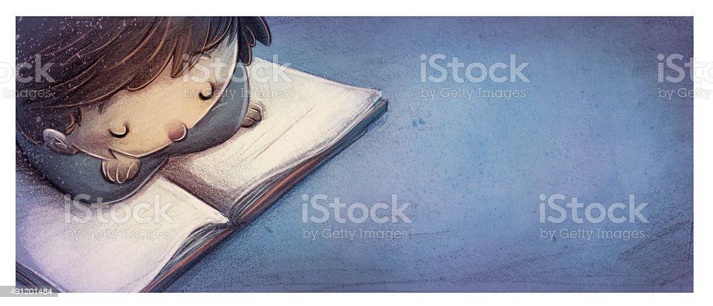 niño leyendo un libro vector art illustration