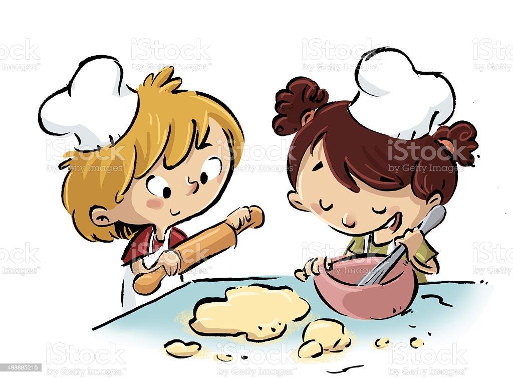 niños cocinando vector art illustration