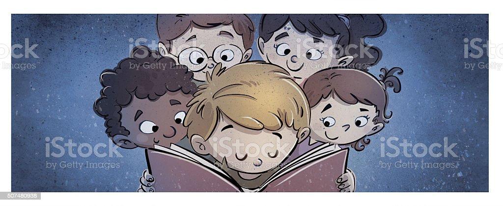 niños leyendo un libro vector art illustration