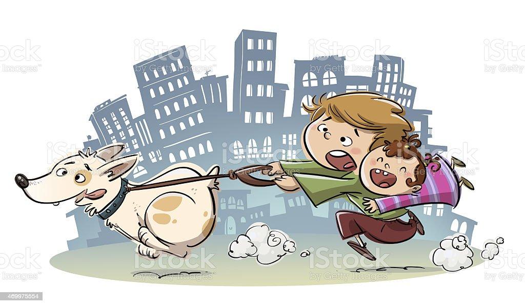 niños paseando a su perro vector art illustration