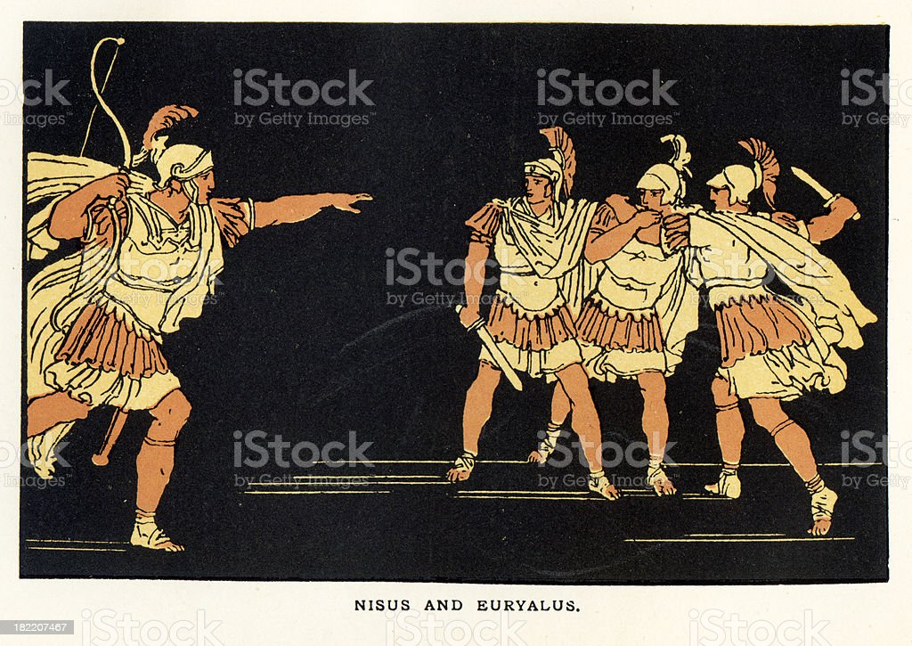 Nisus and Euryalus royalty-free stock vector art