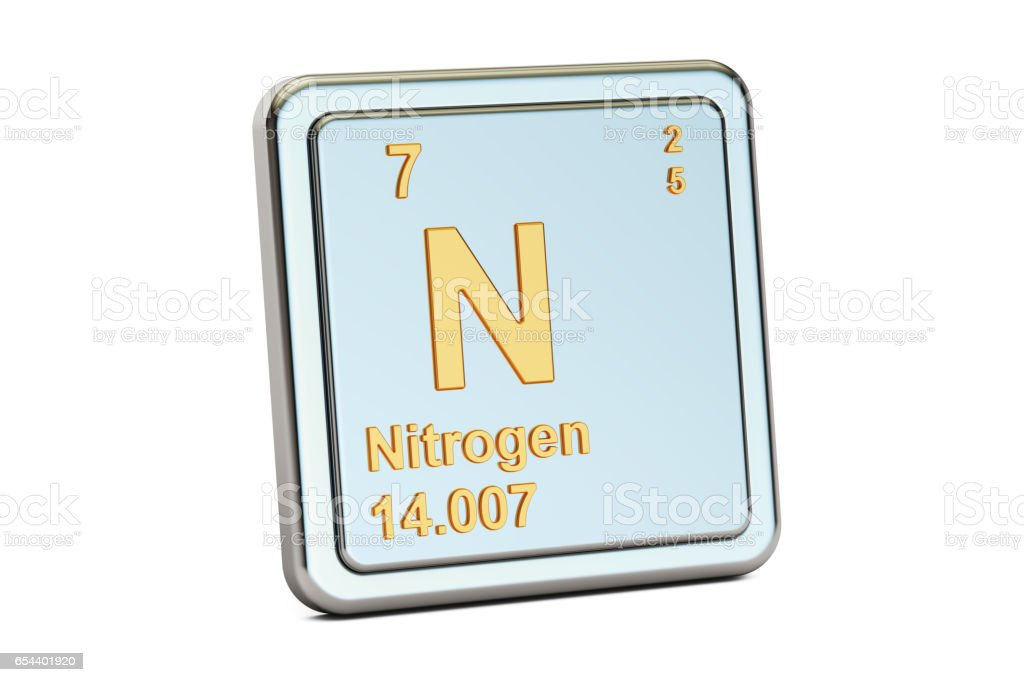 Nitrogen N, chemical element sign. 3D rendering isolated on white background vector art illustration