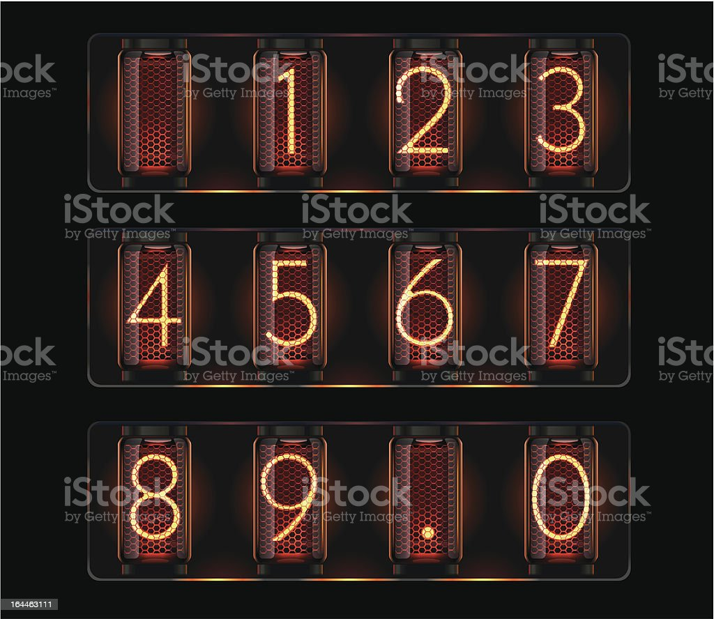 Nixie tubes with digits vector art illustration