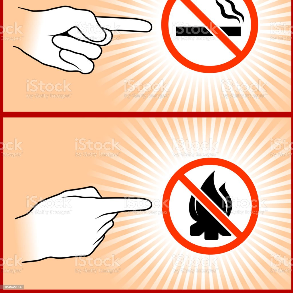 No smoking or fire Hand Sign Gestures Collection royalty-free stock vector art