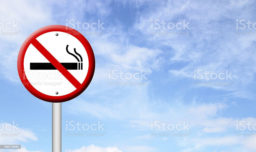 3D no smoking sign with blue sky vector art illustration