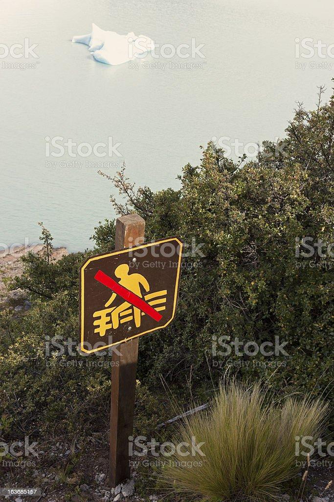 No walking sign near Perito Moreno glacier royalty-free stock vector art