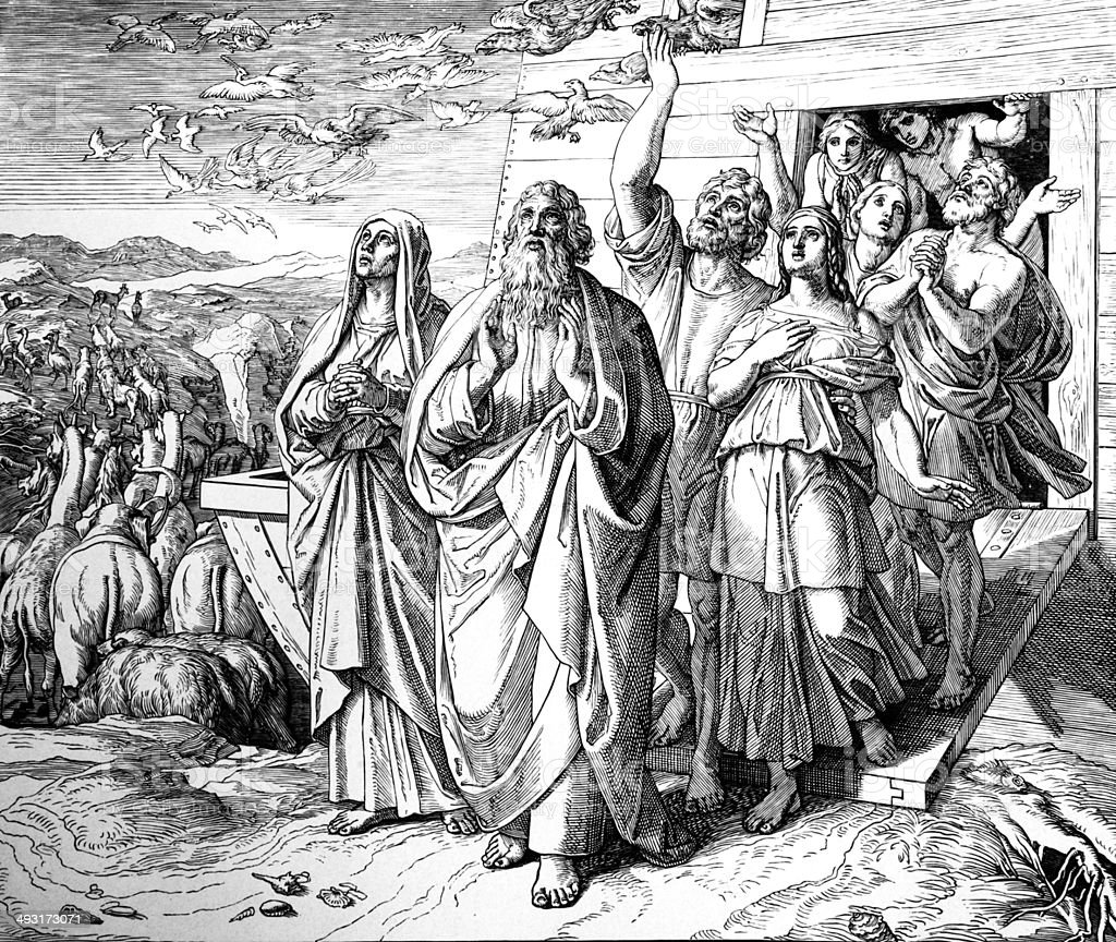 Noah Exits the Ark royalty-free stock vector art